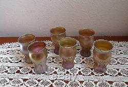 Set Of 6 Lct Tiffany Gold Favrile Tadpole Tendril Sherry, Cordial Glasses 3 7/8