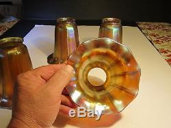 Set of 4 Antique Gold Aurene Quezal Ribbed Art Glass Lamp Shades