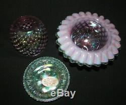 Shelly Fenton Glass Violet Green Iridescent 3 Piece Hobnail Fairy Lamp Light