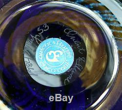 Signed 12-1/2 Orient & Flume Blue Iridescent Studio Art Glass Vase Hawthorne