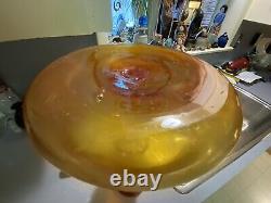 Signed Blenko Blown Glass Floor Bottle Amberina Vase With Stopper Wayne Husted