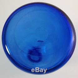 Signed Blenko Mushroom Decanter Sapphire Peacock Blue Wayne Husted 1958-1961