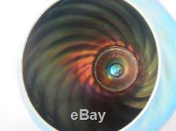 Signed Carder Steuben Blue Aurene Art Glass Swirl Vase 6.5 #6031