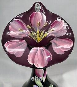 Signed Fenton Jack in the Pulpit Amethyst Art Glass Vase Hand Painted Orchid