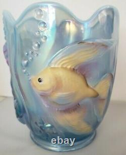 Signed Fenton Misty Blue Glass Vase Atlantis Fish Opalescent Iridescent Verlys