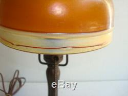 Signed Handel Lamp Base With Signed Steuben Brown Intarsia Brown Art Glass Shade