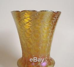 Signed LUSTRE ART Antique SNAKESKIN Pulled IRIDESCENT Glass LAMP SHADE Quezal