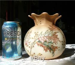Signed Mt. Washington Crown Milano Enamel Decorated Vase