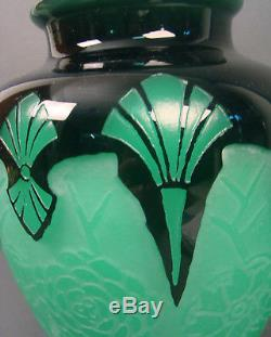 Signed Steuben Art Deco Jade Green Acid Cut Back Mirror Black Chrysanthemum Vase