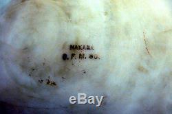 Signed c1900 CF Monroe Nakara Decorated Glass 7 Dresser Jewelry Box Jar