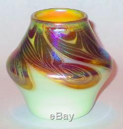Small Signed Steuben Gold/Opal Aurene Decorated Vase