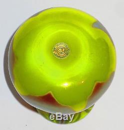 Small Tiffany Favrile Glass Decorated Vase in Rare Chartreuse Color