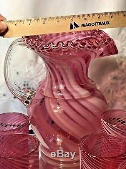 Spiral Optic Cranberry LEMONADE SET Swirl PITCHER 6 TUMBLERS Pink Fenton