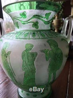 Steuben Acid Etched Cutback Green Jade Over Alabaster Art Glass Vase Roman