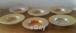 Steuben Art Glass Gold Aurene Pedestal Sherbet Bowl & Underplates 2680 (1 of 5)