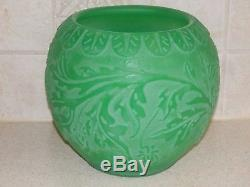 Steuben Art Glass Jade Green Cameo Floral Design Vase 7