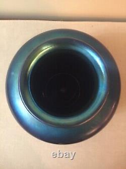 Steuben Art Glass Large Vase Blue Aurene