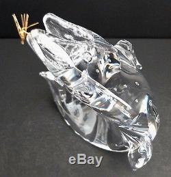 Steuben Art Glass Trout With 18K Gold Fly Figurine By James Houston #1022 Signed