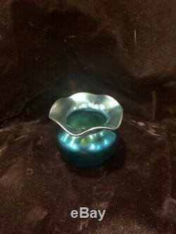Steuben Aurene Glass Vase Metallic Blue 2.5 2649 EUC
