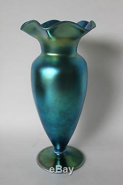 Steuben Blue Aurene Art Glass Vase Iridescent 8 Fluted Edge