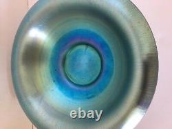 Steuben Blue Aurene Center Art Glass Dish Bowl