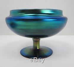 Steuben Blue Aurene Covered Dish 3155