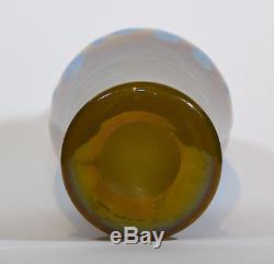 Steuben Blue Aurene and Yellow Jade Art Glass Vase