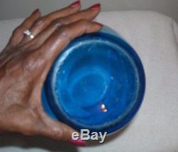 Steuben Celeste Blue Art Glass Large Vase