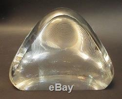 Steuben Crystal Concentric Circles Pyramid Sculpture Paperweight in Red Box