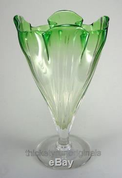 Steuben GROTESQUE VASE Pomona Green to Clear 9