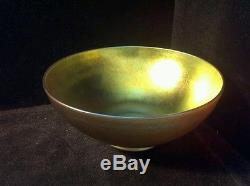 Steuben Glass Bowl 9 inch Aurene Iridescent Footed Signed