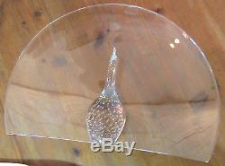 Steuben Glass Vintage Peacock Crystal Art Signed 14 RARE Great Condition