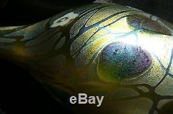Steuben Gold Aurene Millefiori Tall Slender Vase in Silver Cherubs Holder