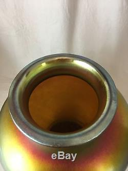 Steuben Gold Aurene Vase, 10.5, Large, Iridescent, Art Glass