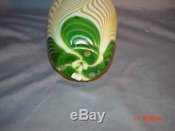 Steuben Green Aurene Peacock Eye Vase Pulled Feather