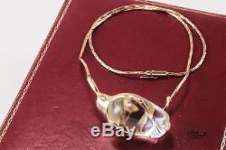 Steuben Rose Rosebud Glass 14k Yellow Gold Necklace Pendant Choker, Original Box