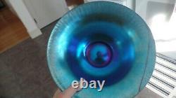 Steuben Stretch Glass Blue Aurene & White Bowl Unsigned