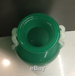 Steuben Vase w Applied M Handles in Green Jade Alabaster Shape #8508