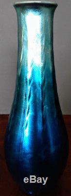 TIFFANY BIG BLUE BEAUTIFUL Favrile Furnace Vase LCT Mark 11 H. 4 D. 1905