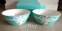 TIFFANY & CO BONE CHINA Blue Bow Ribbon Bowl 2pcs Set gift box Plate Dish