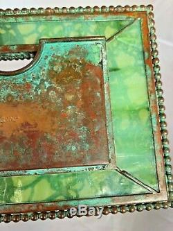 TIFFANY STUDIOS Bronze GREEN Slag GRAPEVINE PATTERN Calendar FRAME