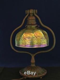 TIFFANY STUDIOS FAVRILE 7 DAMASCENE ART NOUVEAU GLASS SHADE Signed L. C. T