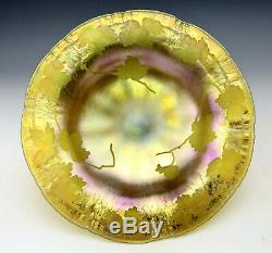 TIFFANY STUDIOS New York Intaglio Cut Gold Favrile Onionskin Glass Tazza c. 1910
