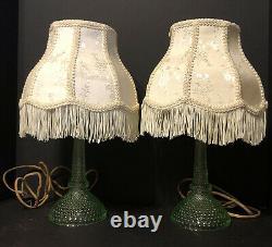 TWO GREEN VASELINE Uranium Fine HOBNAIL Dewdrop Candlestick Boudoir Table Lamps