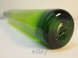 Tall Myers Green Blenko Bottle Vase. Art Glass Decanter. MCM