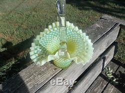 The LARGEST Fenton Art Glass Vaseline Topaz Opalescent Hobnail Basket 15 INCH