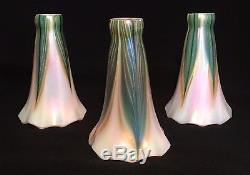 Three Lundberg Studios Pulled Feather Lily Lamp Shades Decorated Art Glass NR
