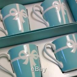 Tiffany & Co. Blue Ribbon Mug Cup 2box Set 4 mugs unused F/S from japan Brand New