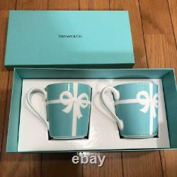 Tiffany & Co Blue Ribbon Porcelain Pair Mug Cup Set Gift Box Limited