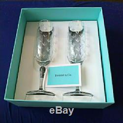 Tiffany & Co. Champagne Flute Glasses Set Of 2 With Box New F/S